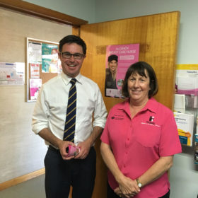 David with McGrath Breast Care Nurse Maree Wylie, who offers vital care and support for the Western Downs region, celebrate new government funding to support those fighting breast cancer in rural communities. In Maranoa, this funding will bolster the valuable work carried out by the McGrath Breast Care Nurses in Dalby, Kingaroy, Warwick and Roma to support these regions and broader communities. The tyranny of distance between home and treatment is acutely felt for rural patients and this funding will go a long way to support and care for women fighting breast cancer across Maranoa